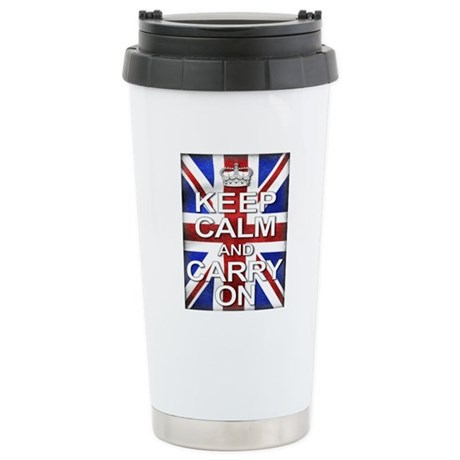Keep Calm & Carry On Union Jack Stainless Steel Tr