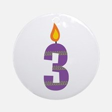 Custom 3rd Birthday Candle Ornament (Round)