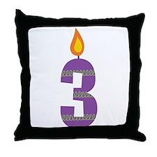 Custom 3rd Birthday Candle Throw Pillow