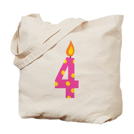4th Birthday Candle Tote Bag