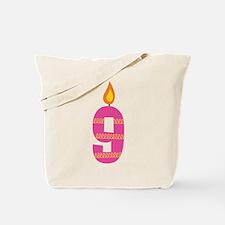 Custom 9th Birthday Candle Tote Bag