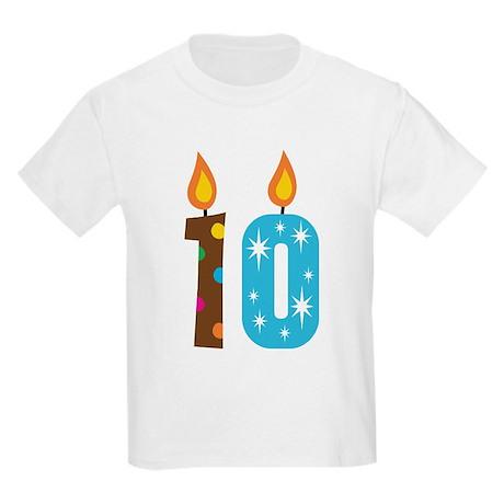 10th Birthday Candle Kids Light T-Shirt