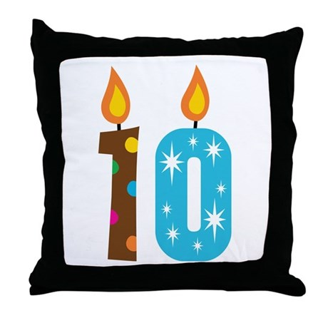 10th Birthday Candle Throw Pillow