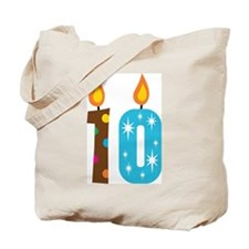 10th Birthday Candle Tote Bag
