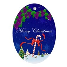 Christmas Snowscape Ornament (Oval)