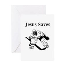 Jesus Saves - Hockey 3 Greeting Card