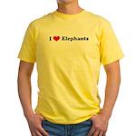 I Love Elephants Yellow T-Shirt