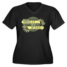 Meat Free Sign Green Women's Plus Size V-Neck Dark