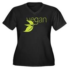 Leafy Vegan Women's Plus Size V-Neck Dark T-Shirt