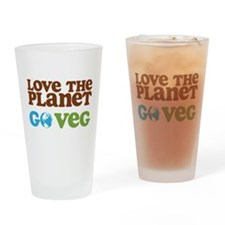 Love the Planet Go Veg Drinking Glass