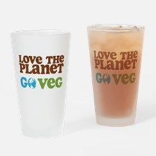 Love the Planet Go Veg Drinking Glass
