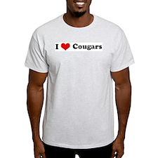 I Love Cougars Ash Grey T-Shirt