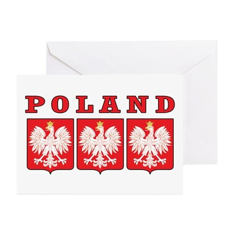 Poland Eagle Shields Greeting Cards (Pk of 10)