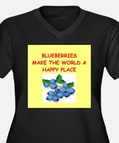 blueberries Women's Plus Size V-Neck Dark T-Shirt