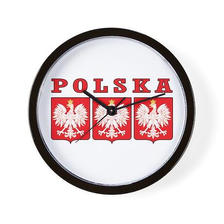 Polska Eagle Shields Wall Clock
