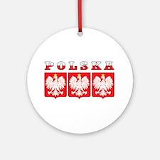 Polska Flag Eagle Shields Ornament (Round)