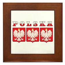 Polska Flag Eagle Shields Framed Tile