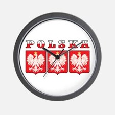 Polska Flag Eagle Shields Wall Clock