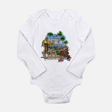 Parrots Beach Party Long Sleeve Infant Bodysuit