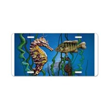 Seahorses and Fish Aluminum License Plate