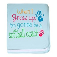Kids Future Softball Coach baby blanket