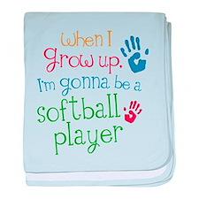 Kids Future Softball Player baby blanket