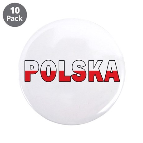 """Polska Flag 3.5"""" Button (10 pack)"""