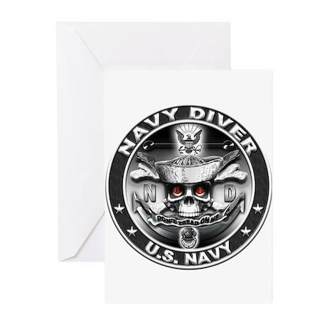 USN Navy Diver ND Skull Don't Greeting Cards (Pk o