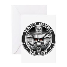 USN Navy Diver ND Skull Don't Greeting Card