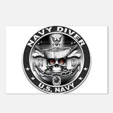 USN Navy Diver ND Skull Don't Postcards (Package o