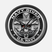 USN Navy Diver ND Skull Don't Large Wall Clock