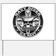 USN Navy Diver ND Skull Don't Yard Sign