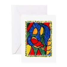 Colorful Abstract Nativity Christmas Greeting Card
