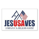 Jesus Saves Sticker (Rectangle 50 pk)