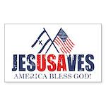 Jesus Saves Sticker (Rectangle 10 pk)