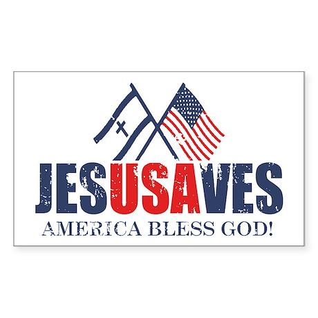 Jesus Saves Sticker (Rectangle)