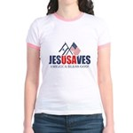 Jesus Saves Jr. Ringer T-Shirt