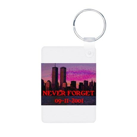 NEVER FORGET 09-11-2001 Aluminum Photo Keychain