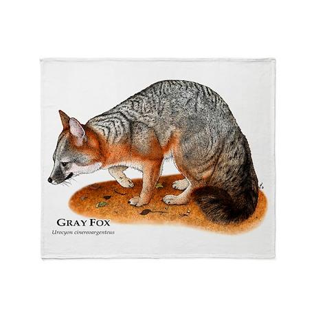 Gray Fox Throw Blanket