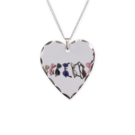 Variety of Colorful Glasses Necklace Heart Charm