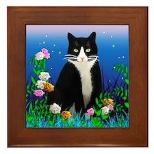 Tuxedo Cat Framed Tile