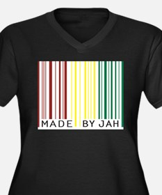made by jah Women's Plus Size V-Neck Dark T-Shirt
