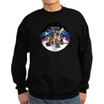 XmasSunrise-2Sheps-2cats Sweatshirt (dark)