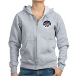 XmasSunrise-2Sheps-2cats Women's Zip Hoodie