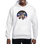 XmasSunrise-2Sheps-2cats Hooded Sweatshirt