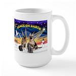 XmasSunrise-2Sheps-2cats Large Mug