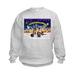 XmasSunrise-2Sheps-2cats Kids Sweatshirt