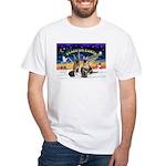 XmasSunrise-2Sheps-2cats White T-Shirt
