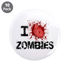 "I Heart Zombies 3.5"" Button (10 pack)"