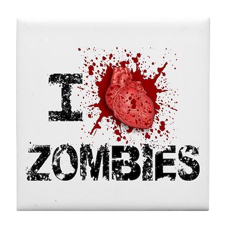 I Heart Zombies Tile Coaster